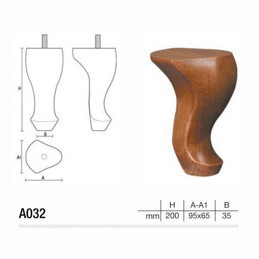 Mobilier lemn masiv - Picioare mobilier A032 Picioare mobilier